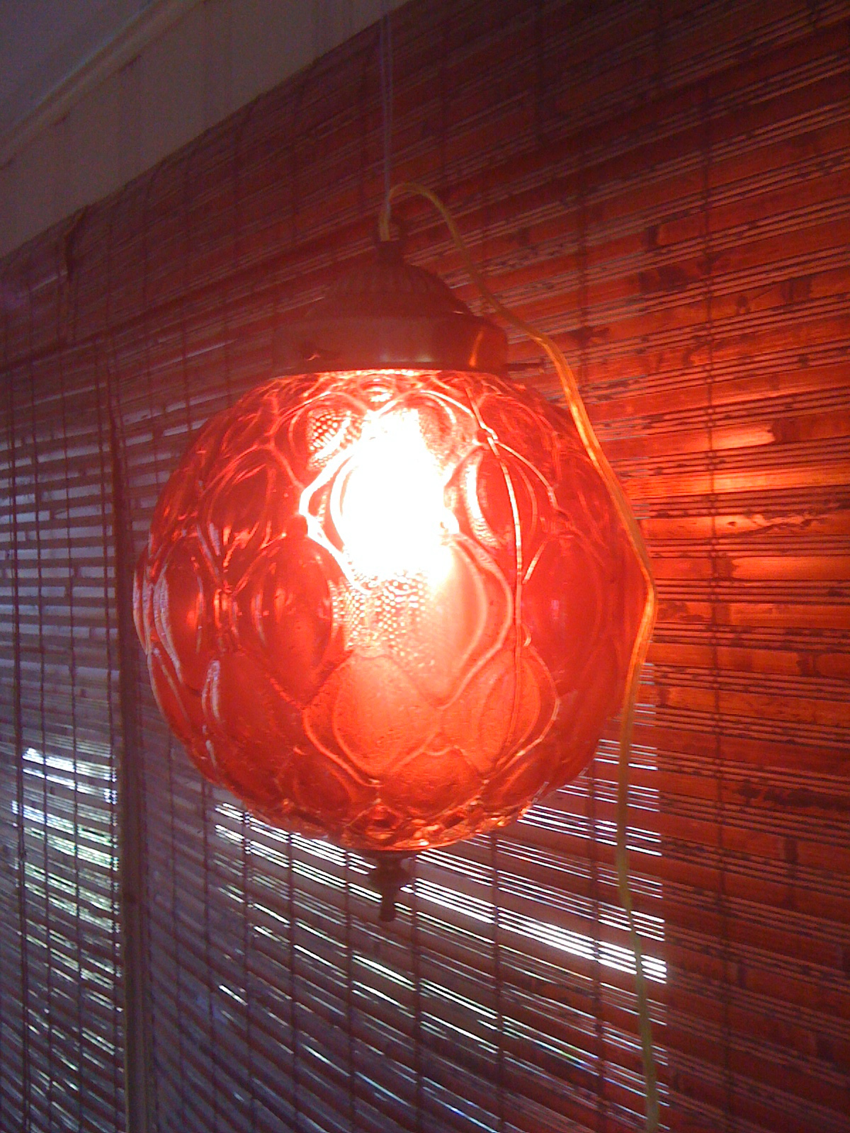 Vintage 60s Red Glass Hanging Lamp Oh Glory Vintage