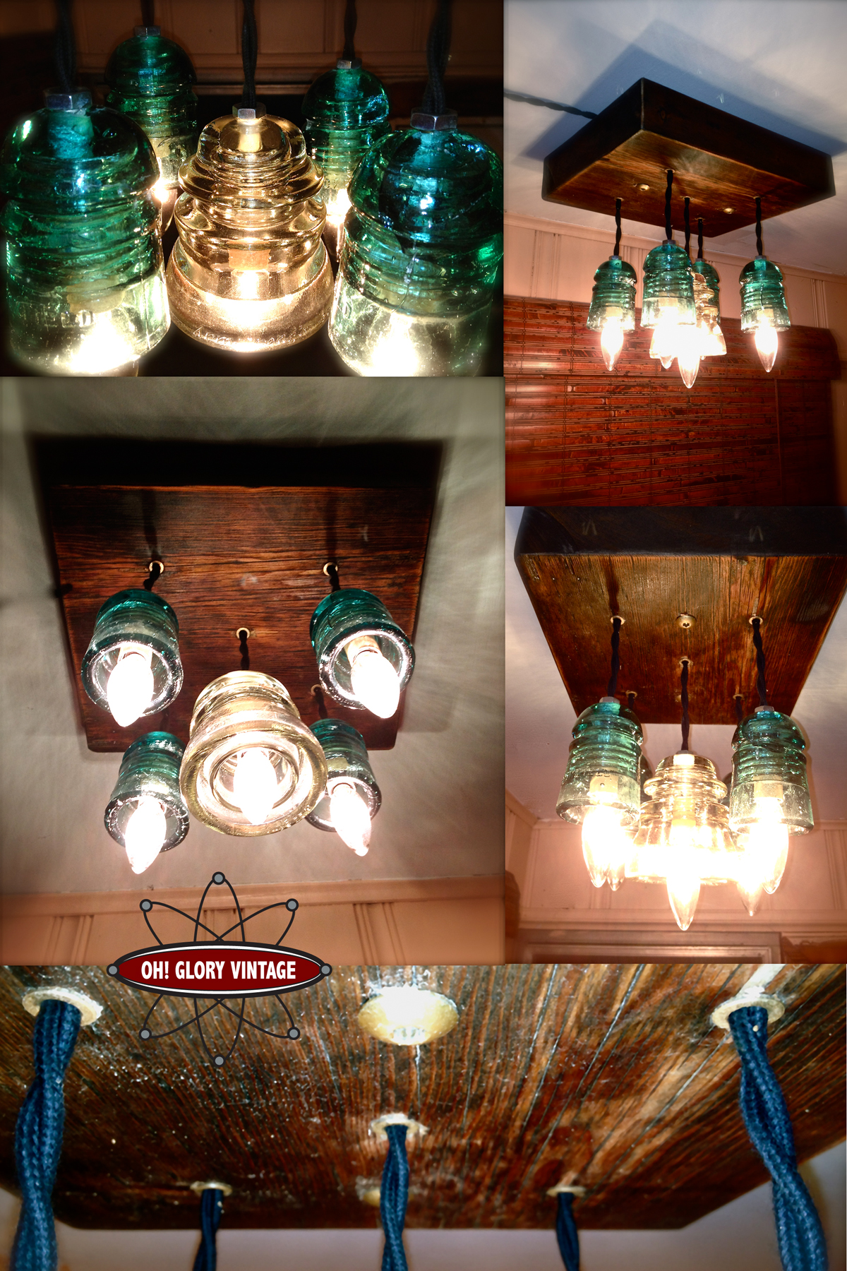 Repurposed glass insulator pendant lights oh glory vintage set arubaitofo Choice Image