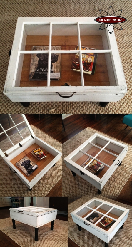 old, window, coffee table, shadowbox