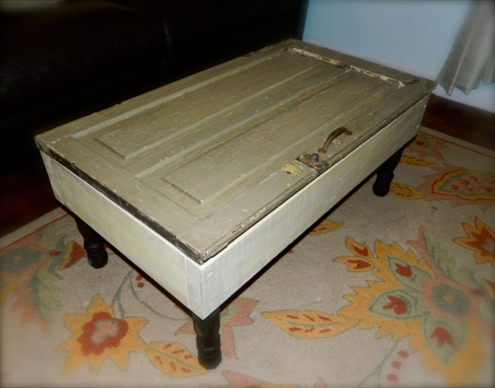Green reclaimed wood coffee table