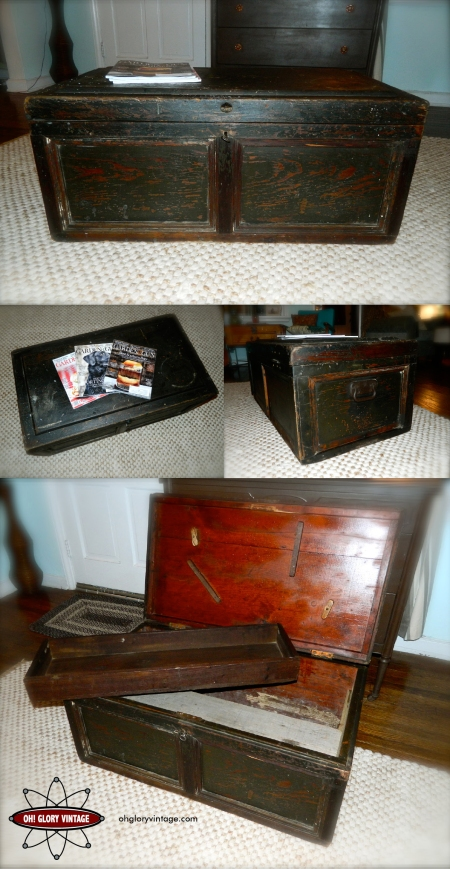 industrial coffee table, repurposed wooden tool chest, restoration hardware style