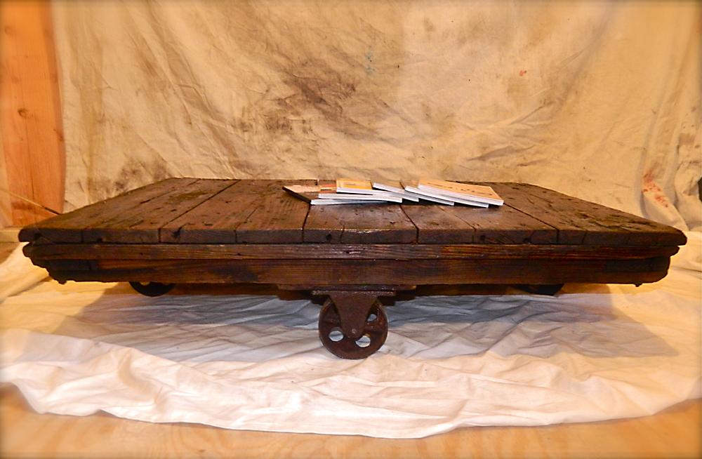 Repurposed Industrial Factory Cart Coffee Table